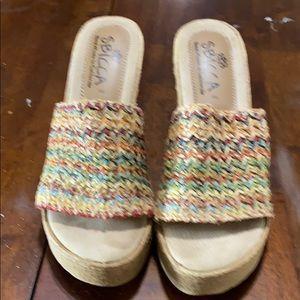 Frank SBicca Vintage Espadrille Wedge Sandal